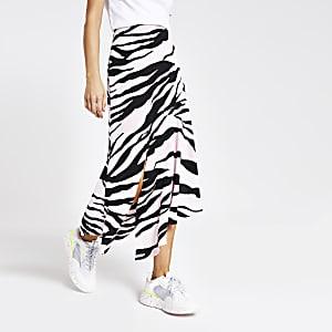 Light pink zebra print asymmetric midi skirt