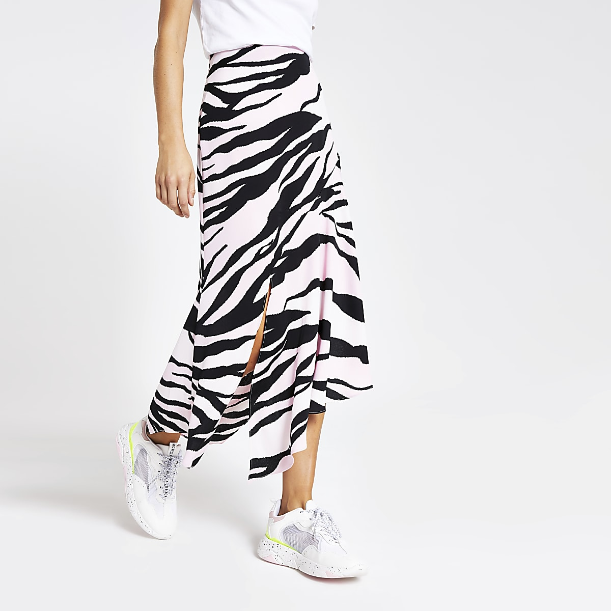 Light pink zebra print asymmetric midi skirt