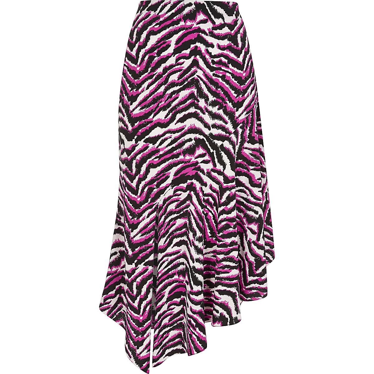 f4ee181a04 Pink zebra print asymmetric midi skirt - Midi Skirts - Skirts - women