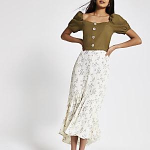 Cream ditsy floral maxi skirt