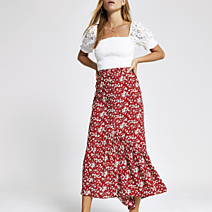 Red floral maxi skirt