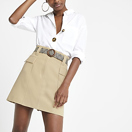 Beige belted mini utility skirt