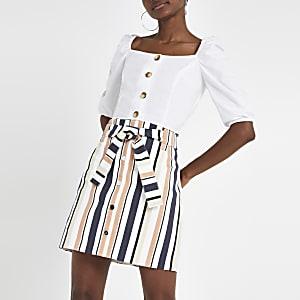 Mini-jupe rayée beige