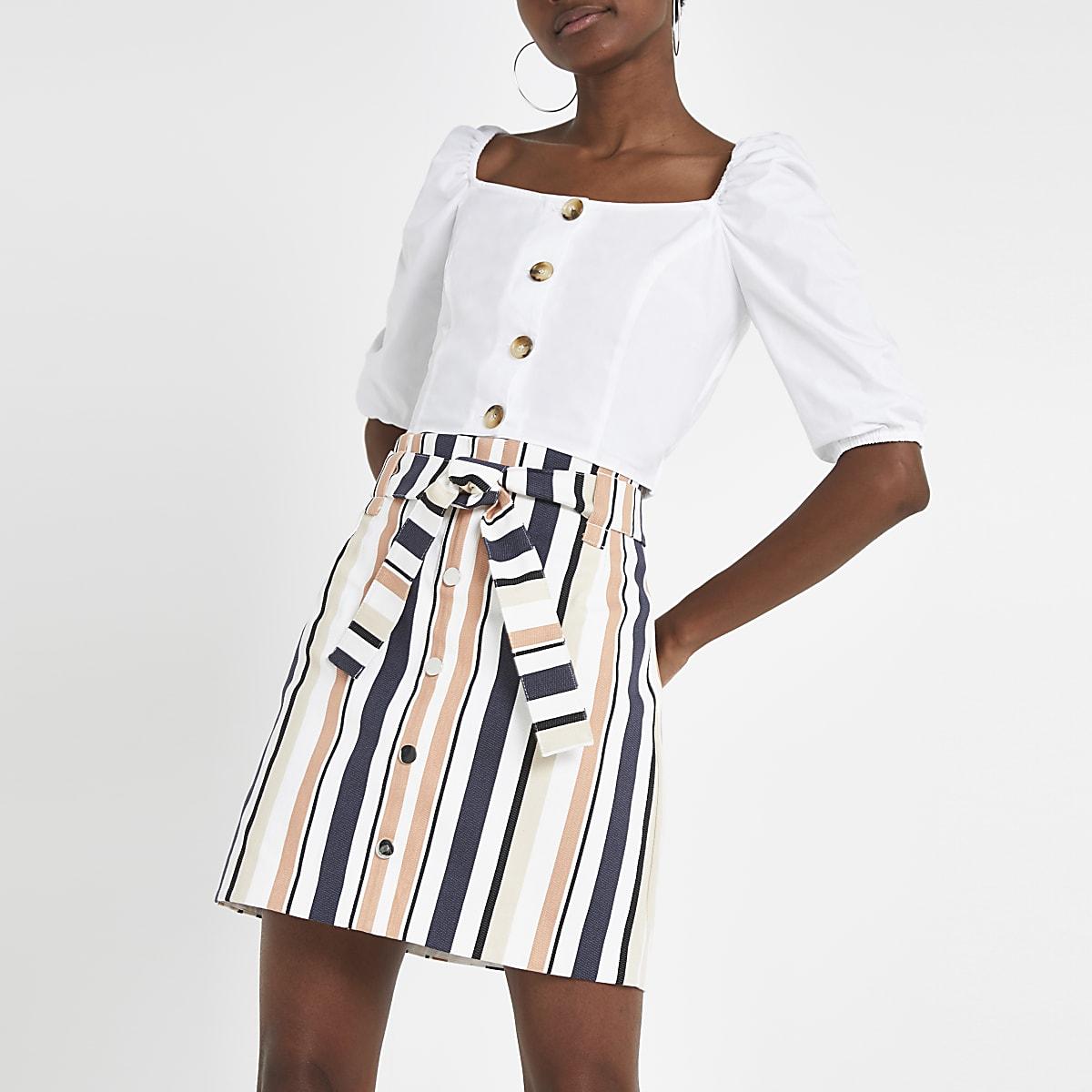 Beige stripe mini skirt