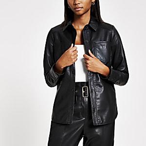 Chemise en cuir noirà boutons