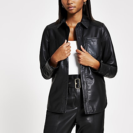 Black leather button front shirt