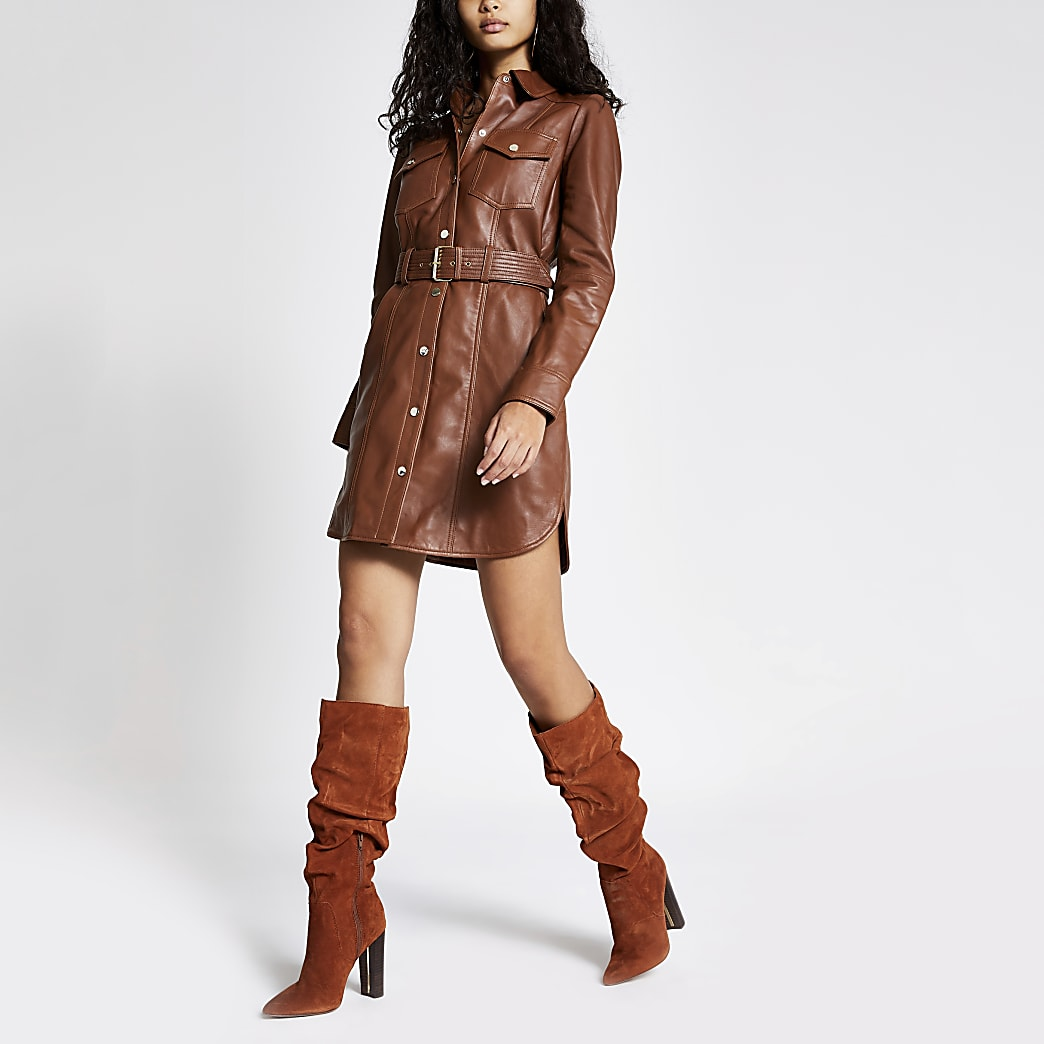 Brown leather long sleeve shirt dress