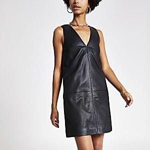 Zwartleren jurk