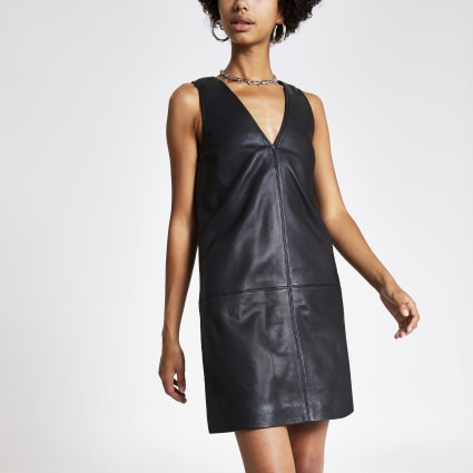 Black leather shift dress