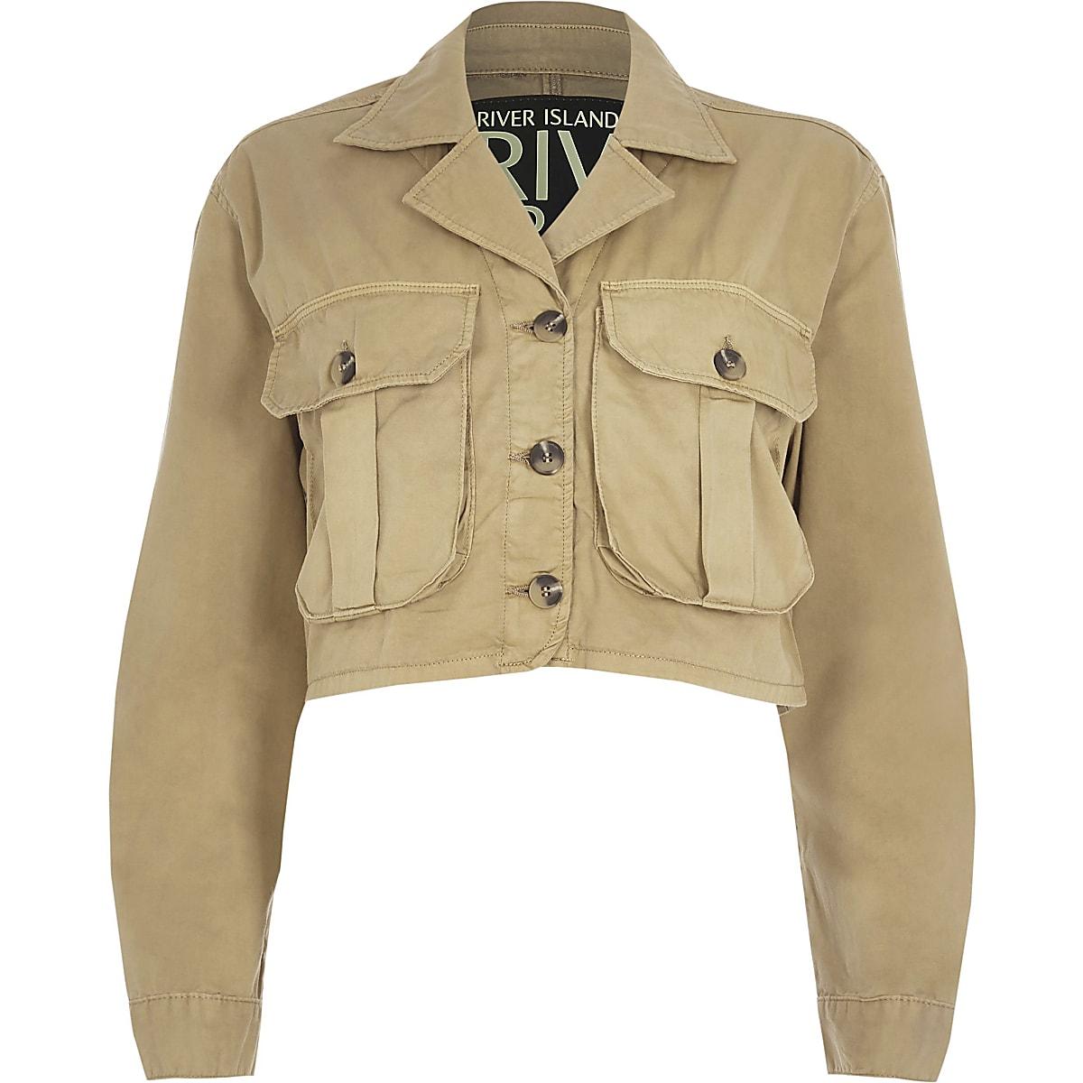 0ef3a938e Beige cropped utility jacket