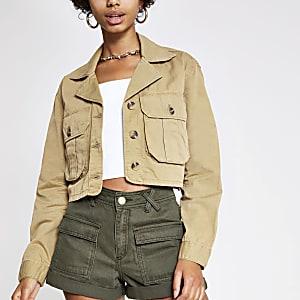 Beige cropped utility jacket