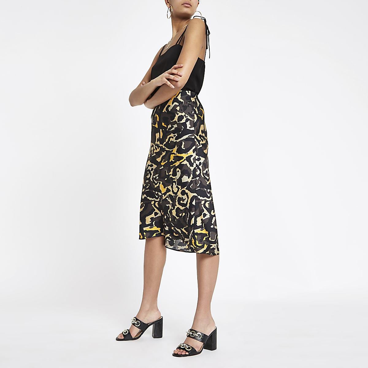 Khaki camo bias cut midi skirt