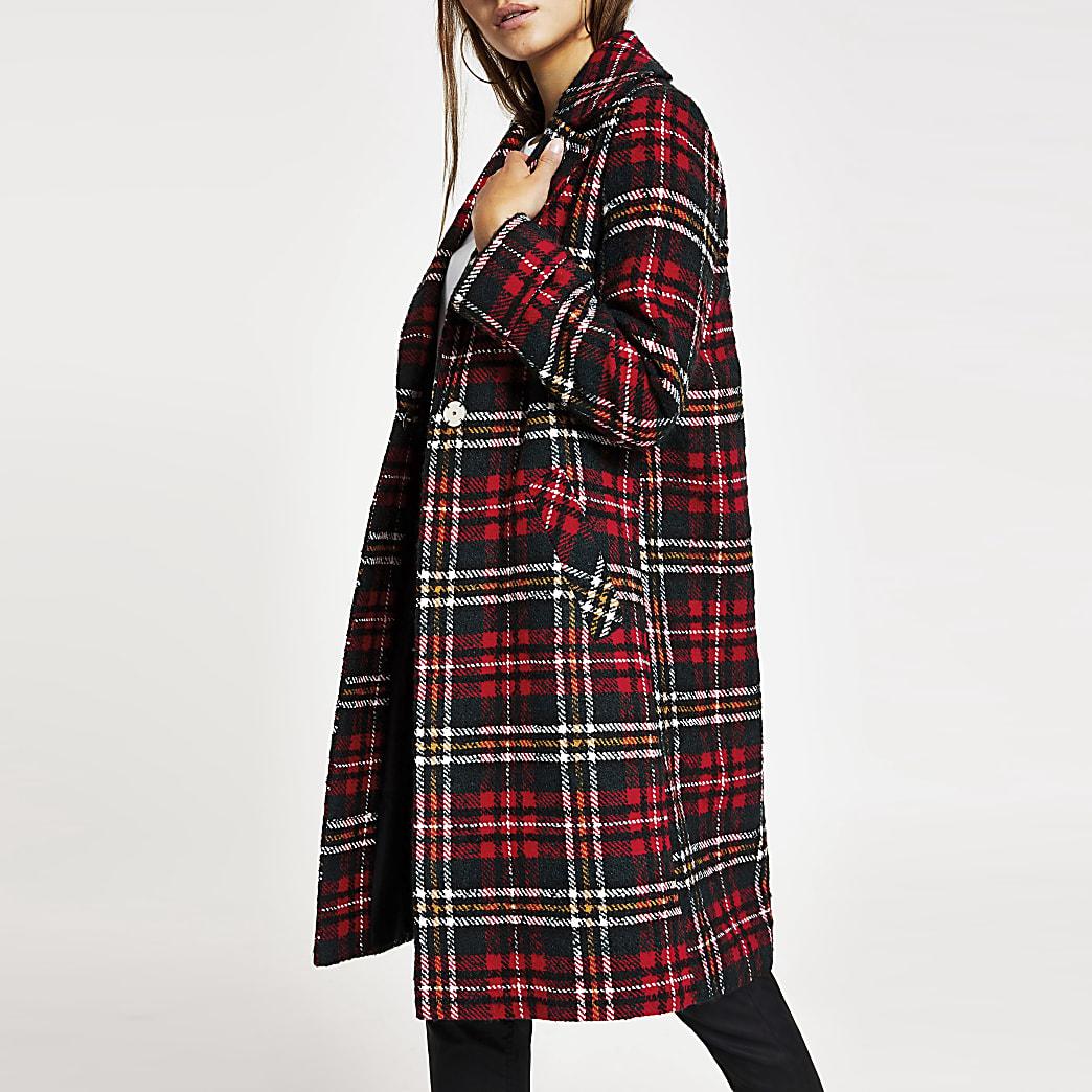 Petite red check longline coat