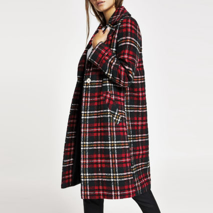 Petite red check longline coat