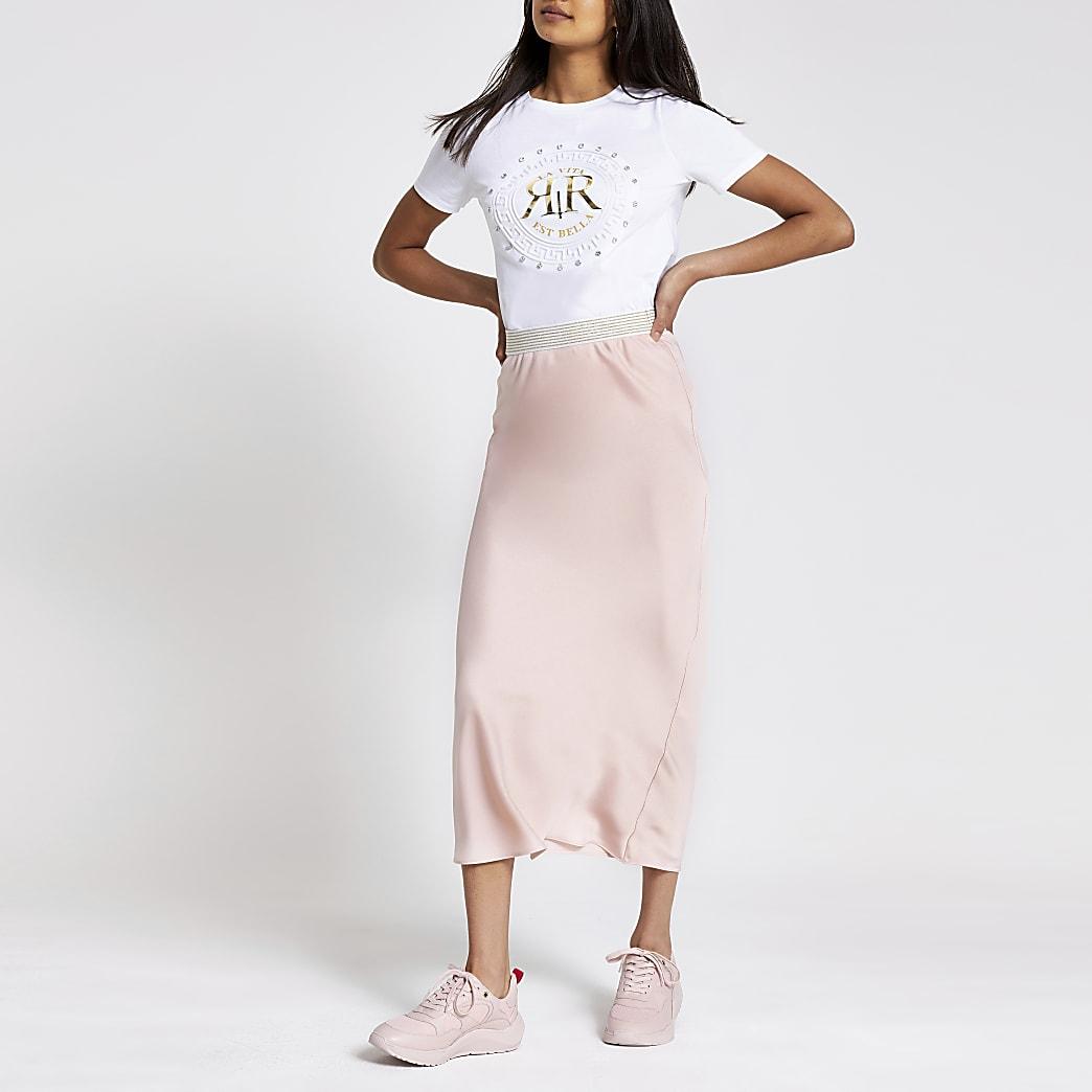 Light pink bias cut midi skirt