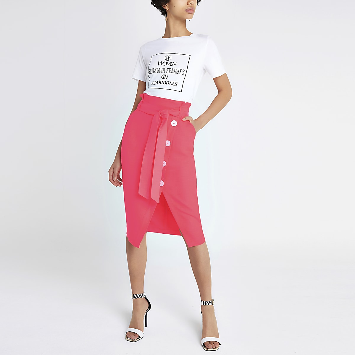 Coral tie waist pencil skirt