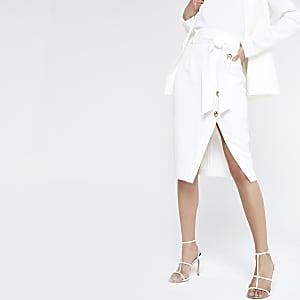 White tie waist pencil skirt