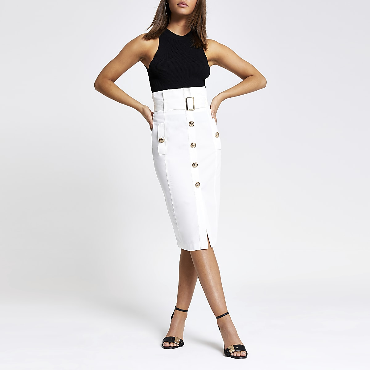 White belted paperbag pencil skirt