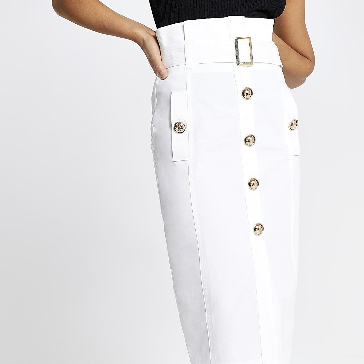 9181e78e43 White belted paperbag pencil skirt - Midi Skirts - Skirts - women