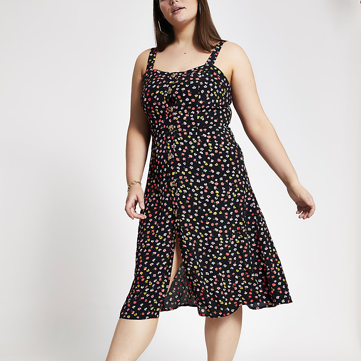 Plus black floral print button front dress