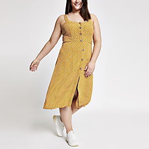 Plus yellow spot print button front dress