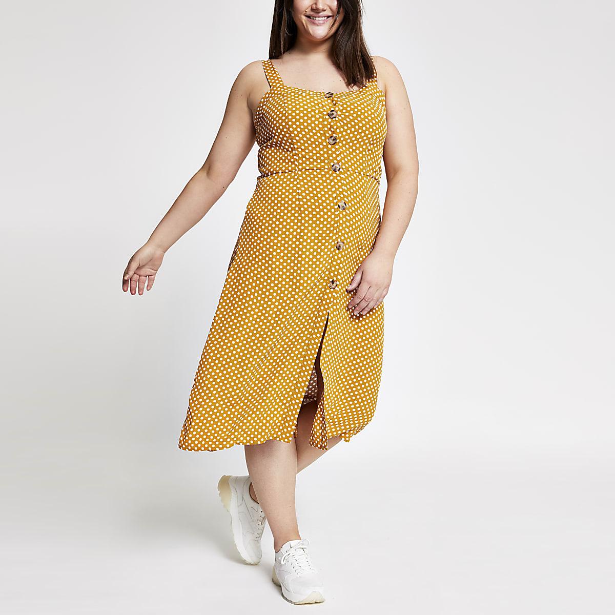Plus yellow spot print button front dress