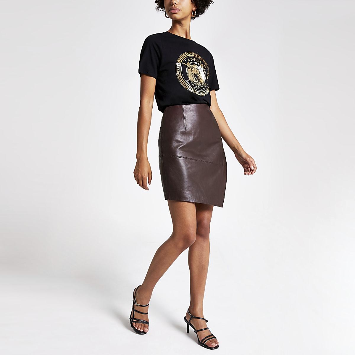Burgundy asymmetric leather mini skirt