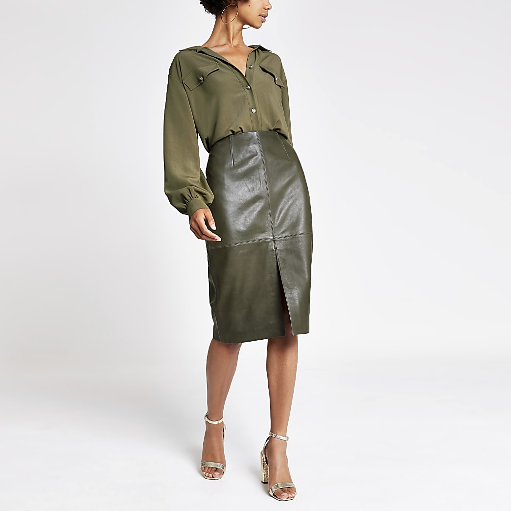 Dark green leather pencil skirt