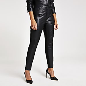 Black leather ponte trouser