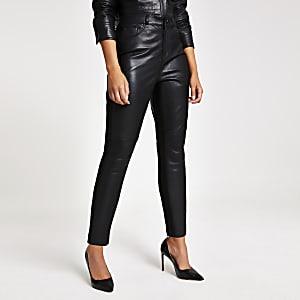 Pantalon en cuir et maille point de Rome noir