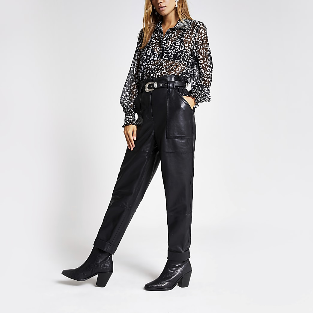 Black leather paperbag trousers