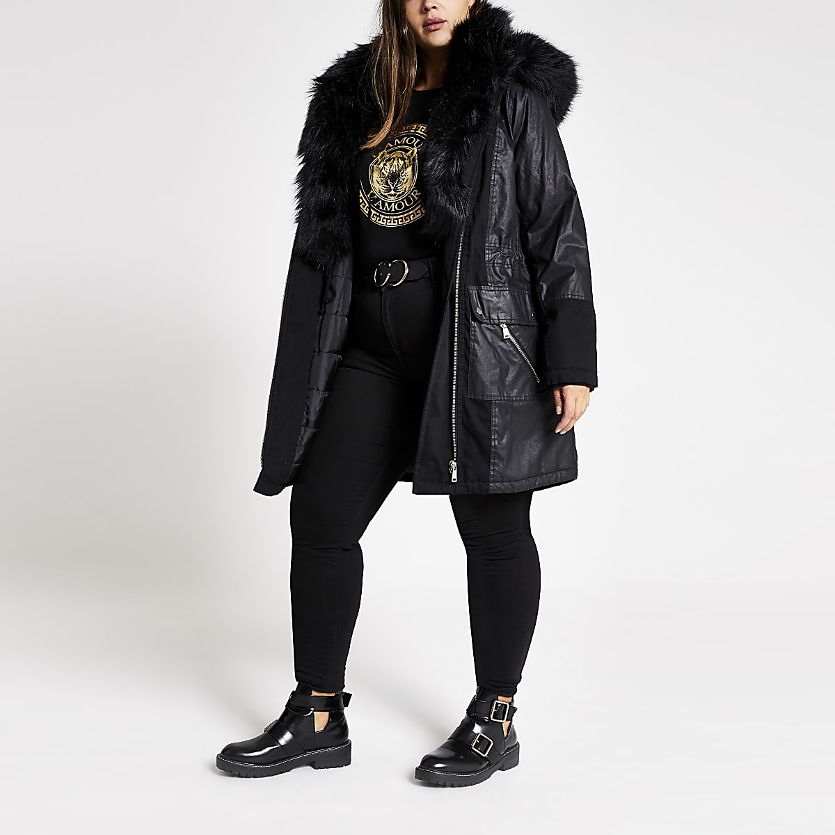 Plus black faux fur trim parka