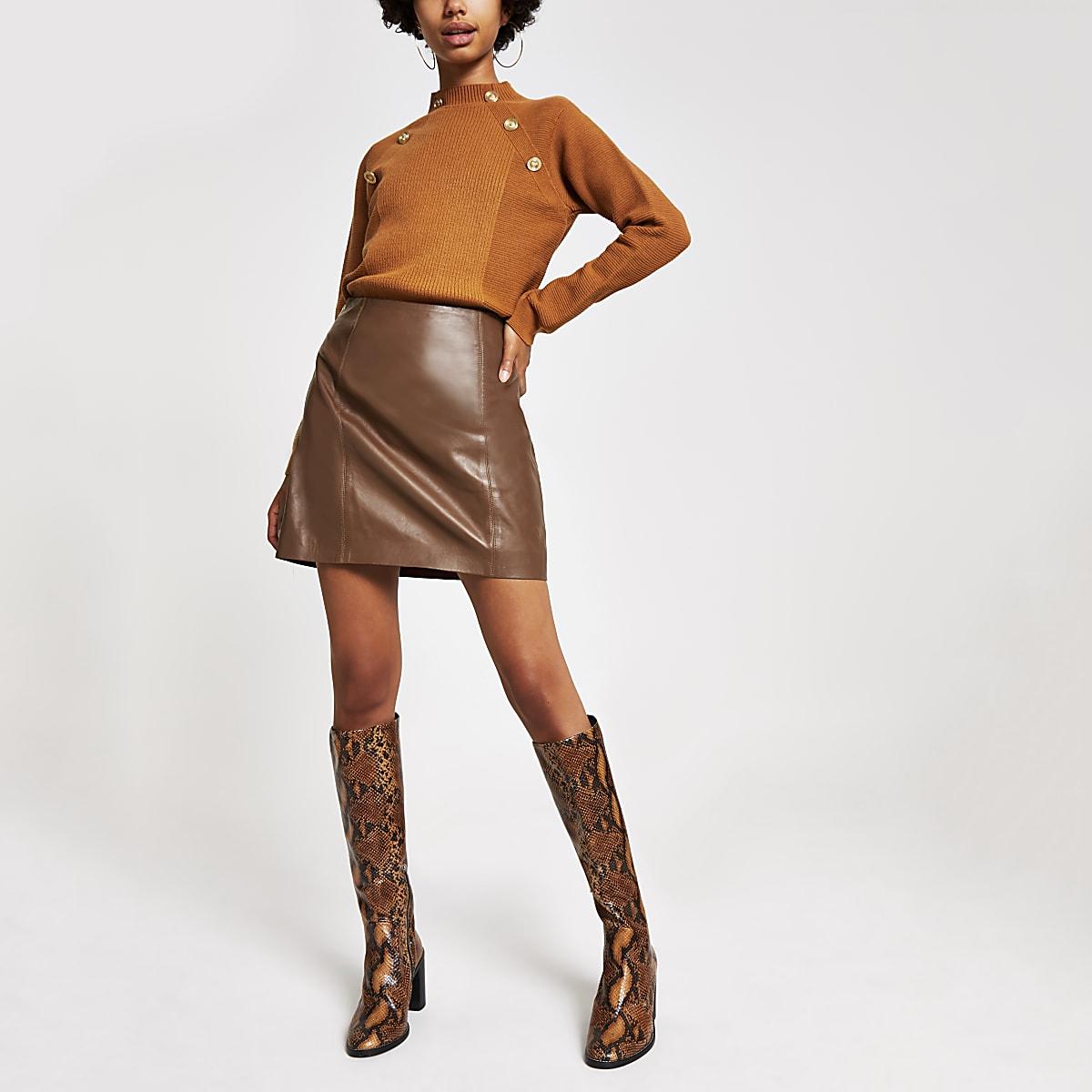 Mini-jupe en cuir marron zippée
