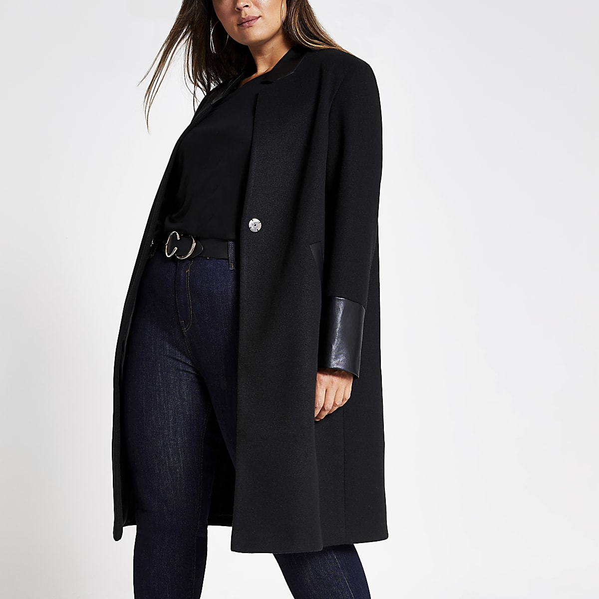 Plus black PU blocked long sleeve coat