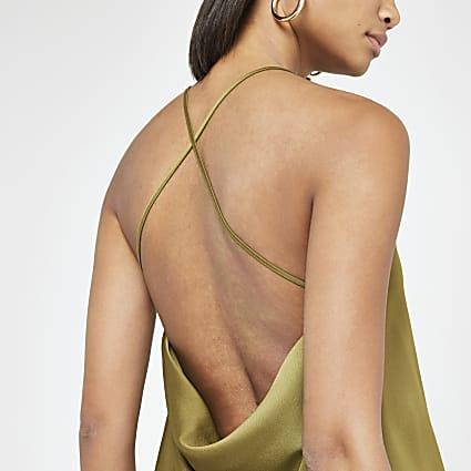 Khaki cowl back cami top