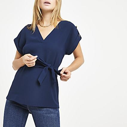 Navy tie waist V neck T-shirt