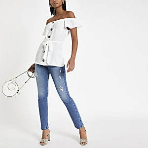White button front bardot tie waist top