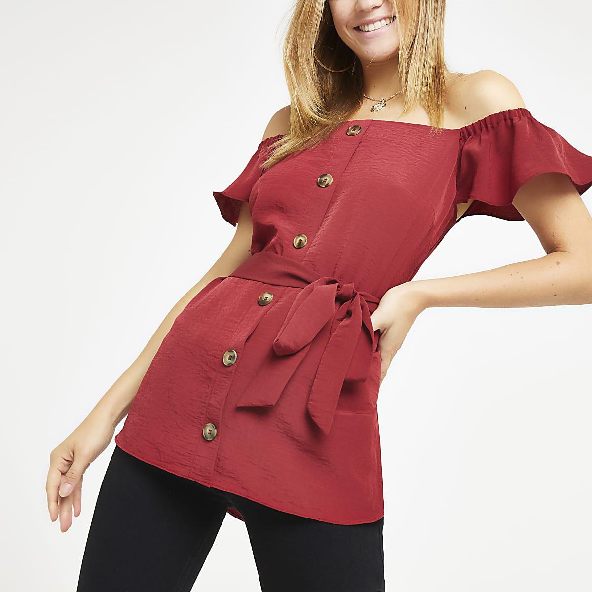 Burgundy bardot tie waist top