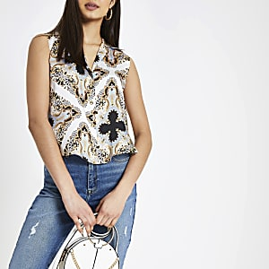 Blue scarf print sleeveless shirt