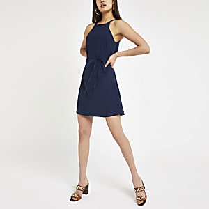 Navy tie waist swing dress
