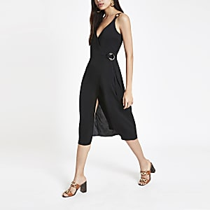 Black wrap slip dress