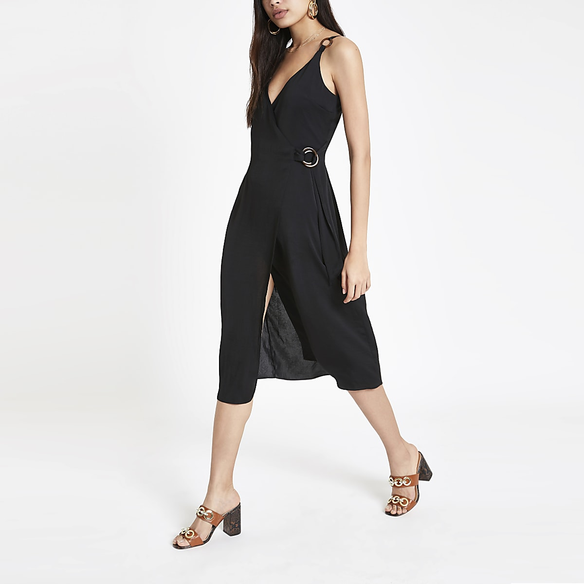 Black wrap slip dress