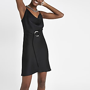 Black cowl neck belted slip dress