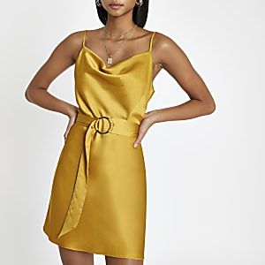 Yellow cowl neck belted slip dress