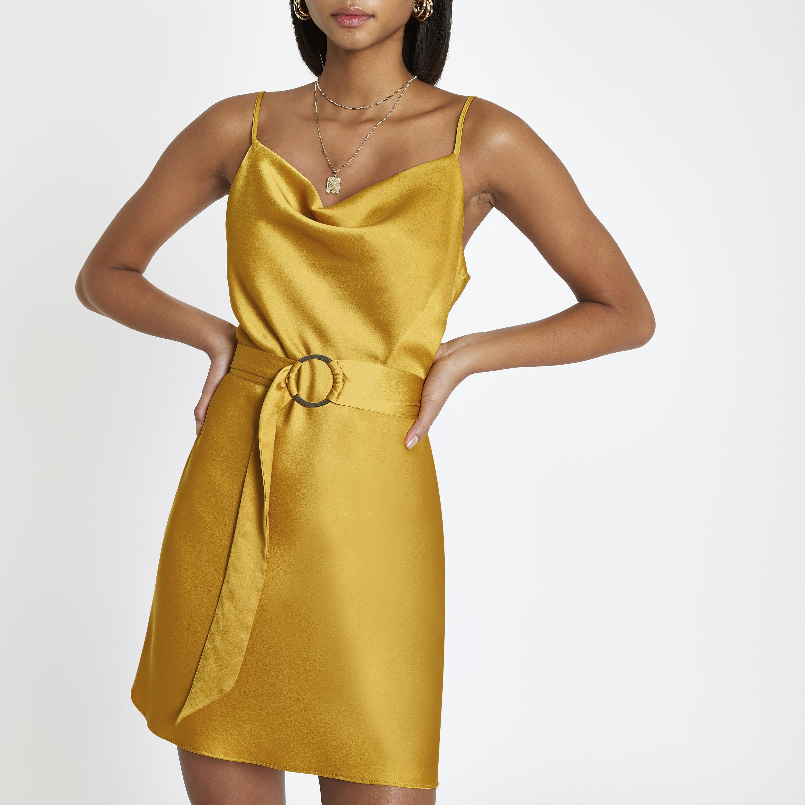 River Island - cowl neck belted slip dress - 1