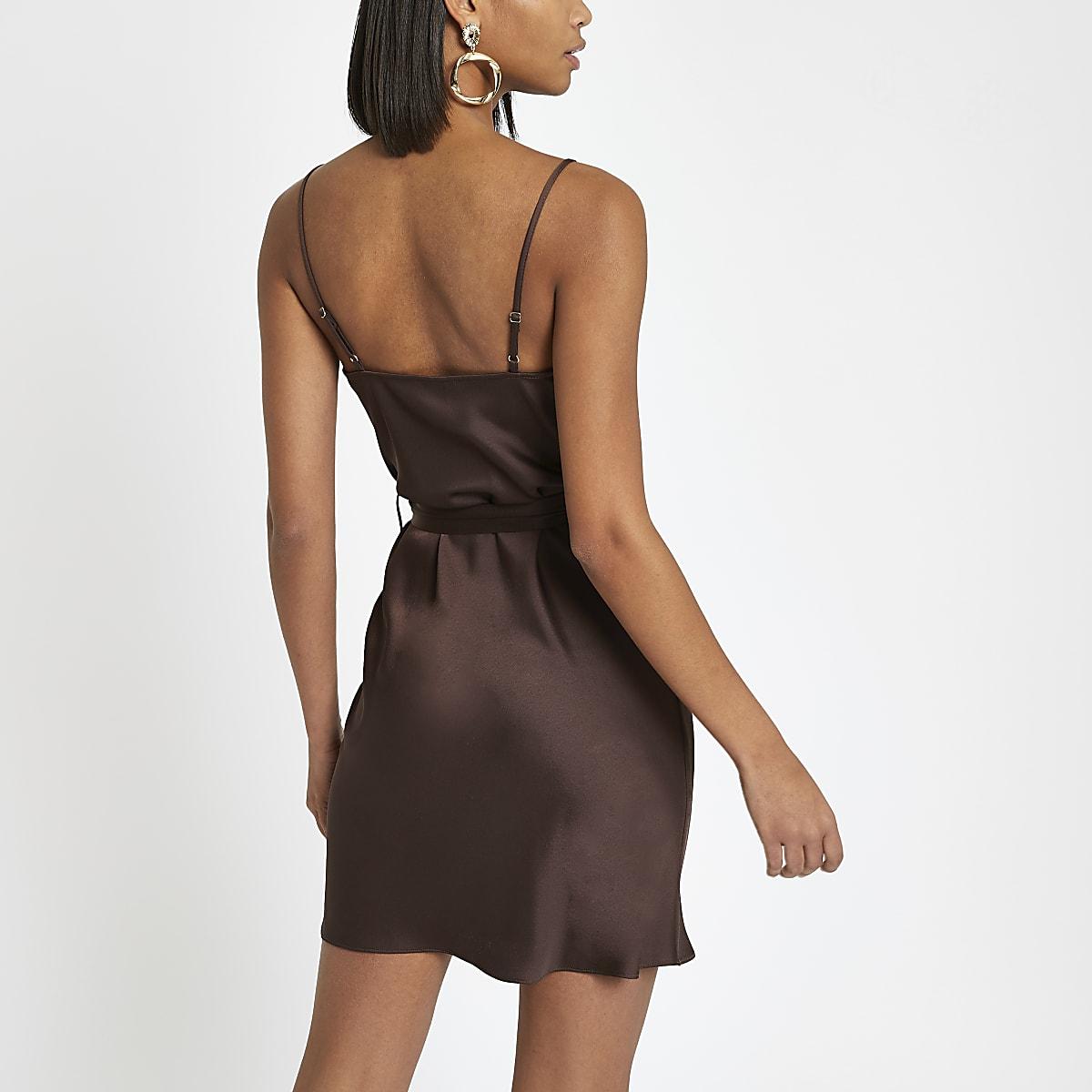 3d9d48f97f751 Brown cowl neck belted slip dress - Slip & Cami Dresses - Dresses ...