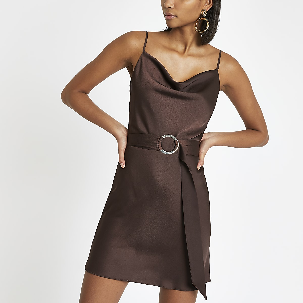 Brown cowl neck belted slip dress