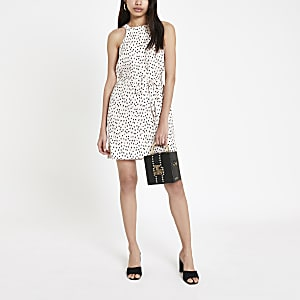 Beige spot print swing dress