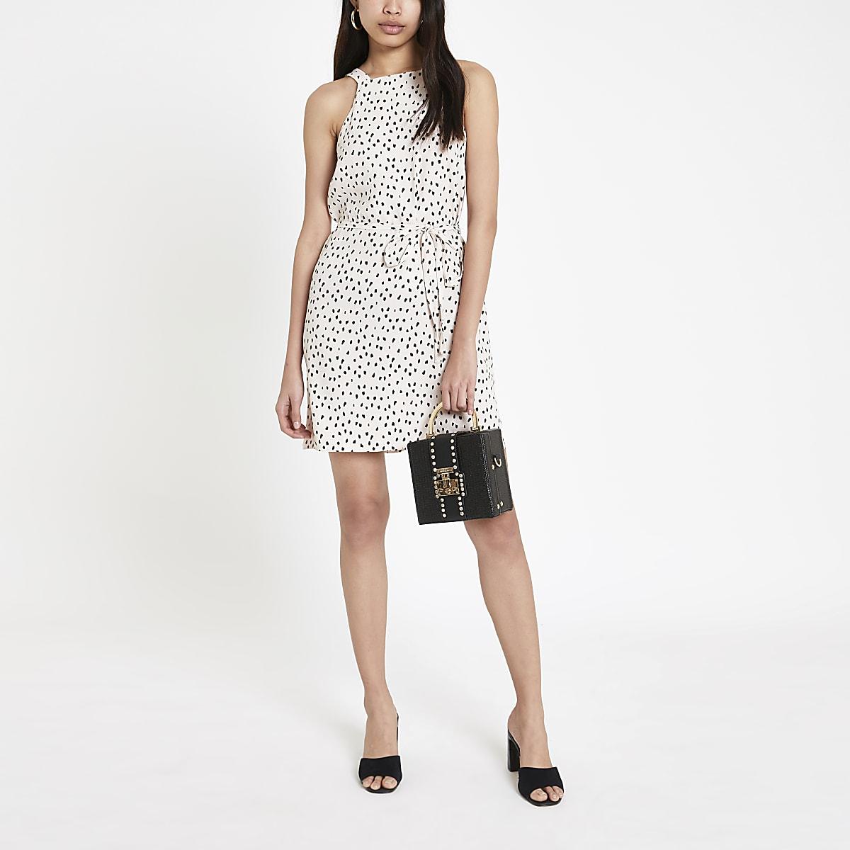 Beige spot print swing dress