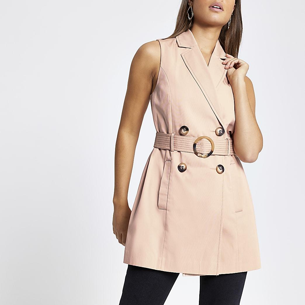 Pink belted sleeveless blazer